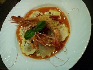 Chorizo Ravioli with Creole Shrimp in Vodka Cream Sauce. Special dish just for #moaintlfoodfest. From @bistroravioli .