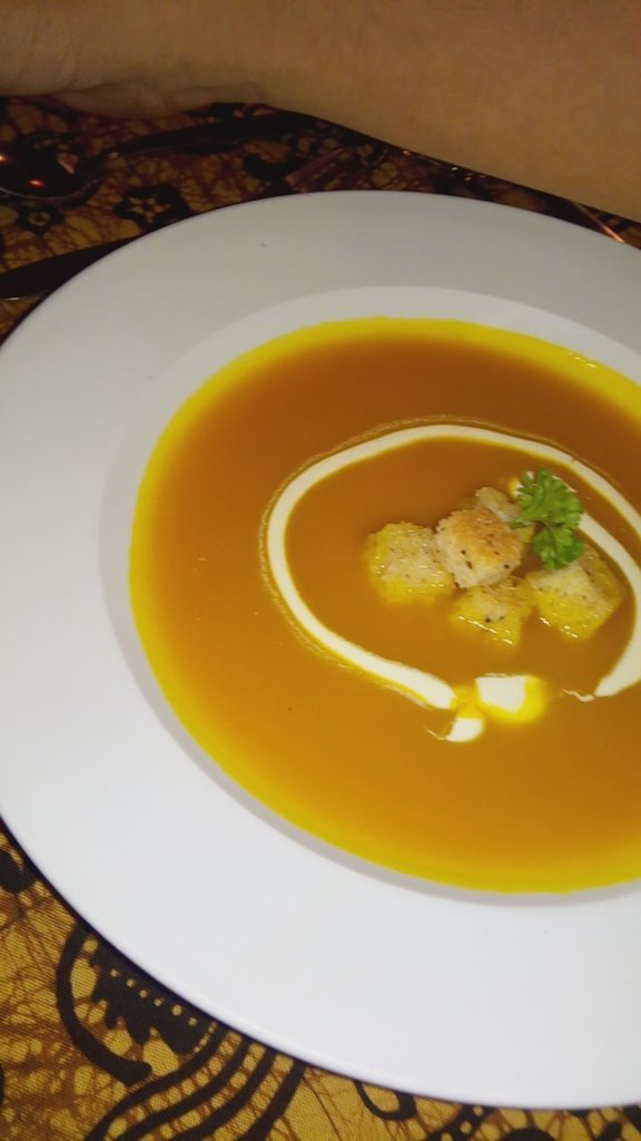 We can start with the Pumpkin Soup.
