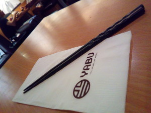 Yabu's chopsticks look like a wand from olivander's. Miss Poveda loved them.