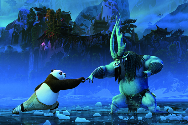 Po and Kai in a fight scene in KUNG FU PANDA 3